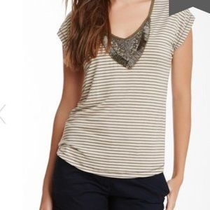 Bellatrix Striped Embellished Neckline Brown Top M